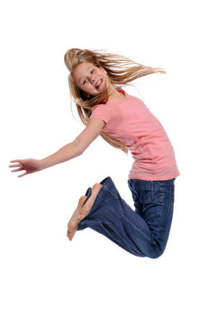 Girl jumping showing happiness isolated on a white background Reklamní fotografie - 8132619