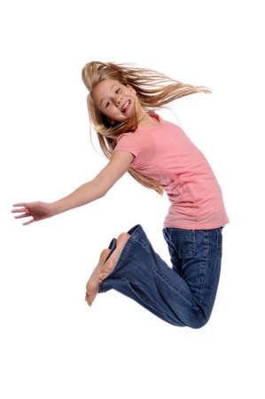 Meisje springen weergegeven: geluk geïsoleerd op een witte achtergrond Stockfoto