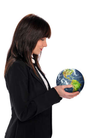 Young businesswoman holding the earth isolated on a white background photo