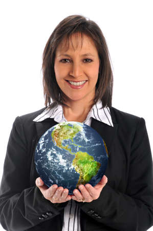 business symbols metaphors: Businesswoman holding the earth isolated on a white background
