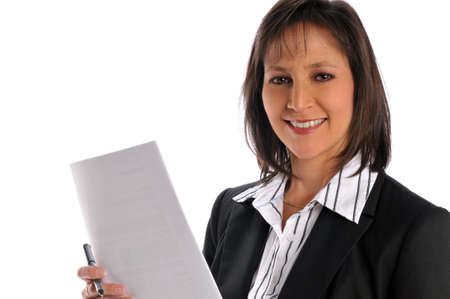 Businesswoman holding a pen and paper isolated on a white background photo