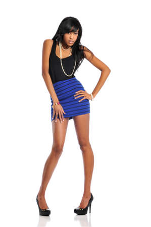 Young african american woman fashion model isolated agaist a white background