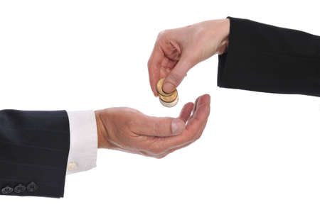 Womans hand giving money to a businessman isolated on a white background photo