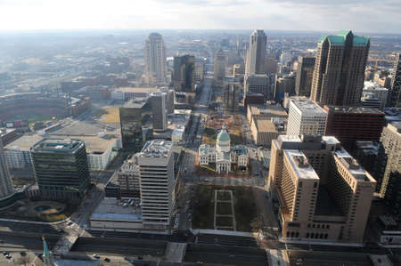 City of Saint Louis Missouri view of dowtown seen from the top of the Arch