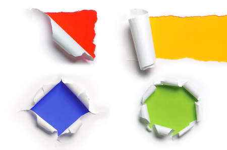Assortment of ripped white paper against a colorful backgrounds
