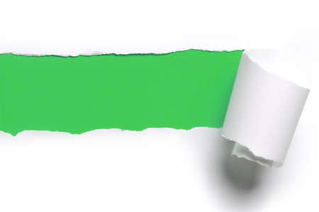 ripped white paper against a green background Stock Photo - 8166477