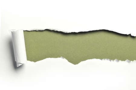 ripped white paper against a green background Stock Photo - 8166485