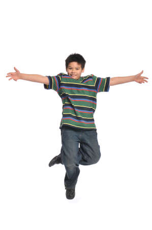 Child tap dancer jumping isolated on white background Zdjęcie Seryjne