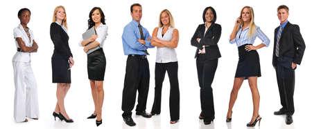 Groep van ondernemers staan geïsoleerd op een witte achtergrond Stockfoto
