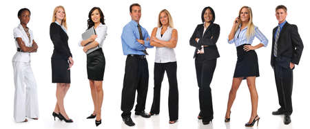 Group of businesspeople standing isolated on a white background