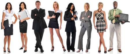 白い背景上に分離されて立っている実業家のグループ