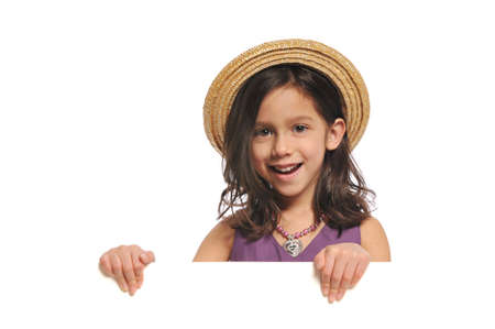 signboard: Little girl holding a blank sign isolated on a white background