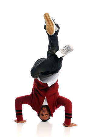 aerobica: Hip Hop Dancer performing isolated on a white background Stock Photo