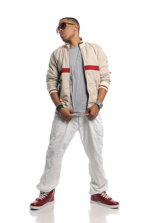 rapping: Hip Hop dancer performing isolated on a white background