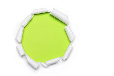 torn: Torn Paper with circlets shape and green bakground with space for text Stock Photo