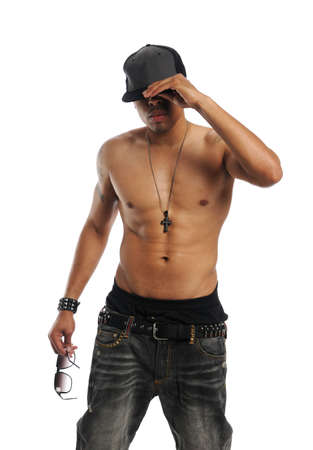 Hip Hop danser uitvoeren geïsoleerd op een witte achtergrond