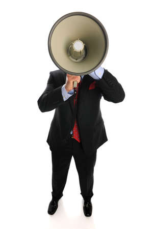 loud: Businessman with megaphone isolated on a white background
