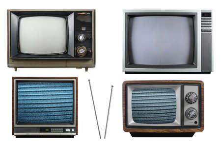 白い背景で隔離のアンテナを持つ古いビンテージ テレビ 写真素材