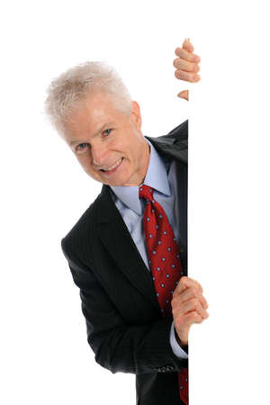 Businessman holding a blank board with space for text isolated on a white background