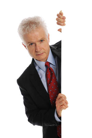 Businessman holding a blank board with space for text isolated on a white background photo