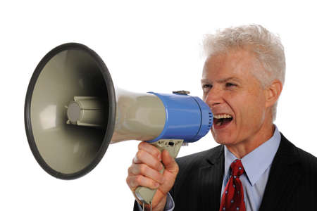 Businessman screaming with a megaphone isolated on a white background Stock Photo - 8295363