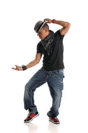 cool guy: Hip Hop dancer performing isolated on a white background