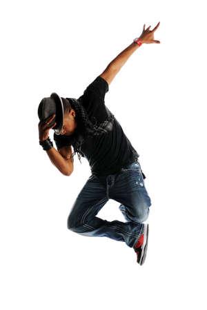 힙합 댄서 수행 흰색 배경에 격리 된 댄서 스톡 콘텐츠