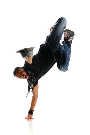 aerobica: Hip Hop style Dancer performing isolated on a white background