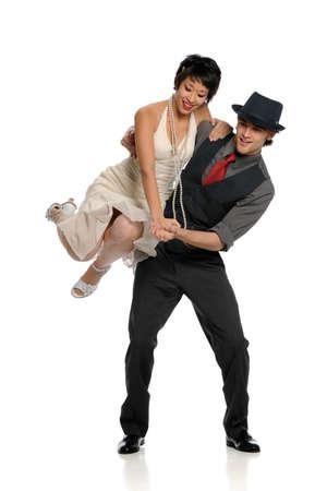 白い背景で隔離のカップル ダンス 写真素材