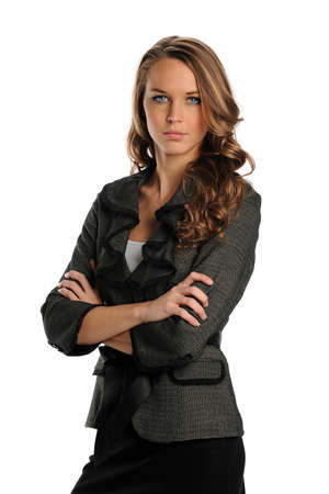 Young Businesswoman with arms crossed isolated on a white background photo