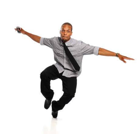 danza africana: Joven Hip Hop Negro Dancer realizar aislado en un fondo blanco Foto de archivo