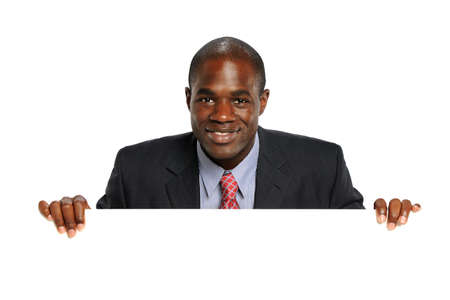 Young African American Businessman Holdin a blank sign isolated on a white background