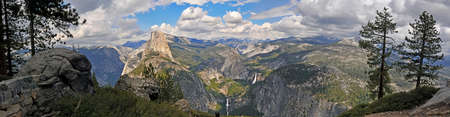 high sierra: Panoramic View of THe Valley of Yosemite in California taken from the Dome