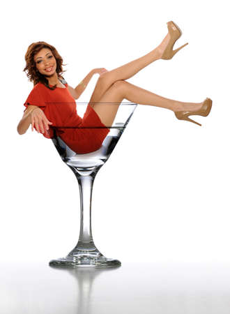 Young African American Woman in a Martini Glass on a white background photo