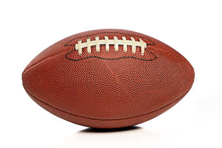 leather texture: American Football isolated on a white background Stock Photo