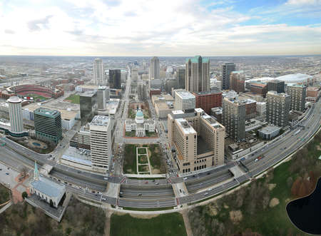 Aerial View of the city of Saint Louis, Missouri as seen fron the top of the arch looking east