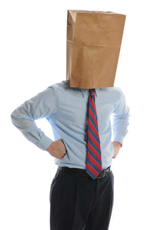 Businessman with paper bag on his head on a white background Reklamní fotografie