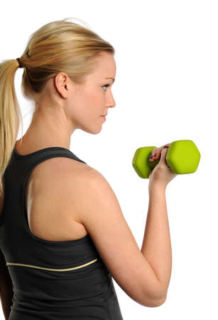 womna: Young Blond womna lifting a bumbbell isolated on a white background Stock Photo