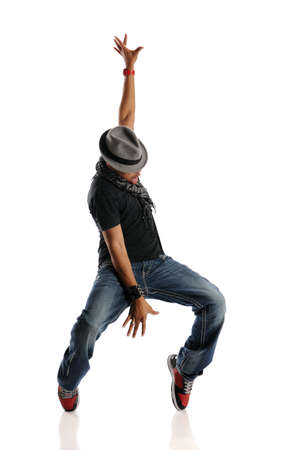 aerobica: HIp Hop Dancer performing isolated on a white background