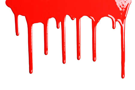 blood dripping: Red dripping paint against a white background