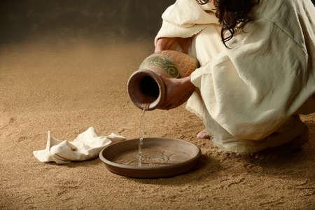 Jezus met een kruik water en een towell