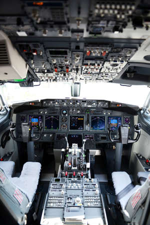 Airplane cockpit  on a horizontal format