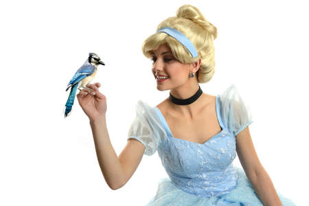 Cinderella holding a bird isolated on a white background
