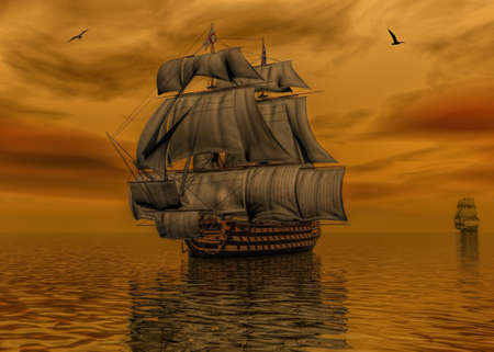 Spainish ship on calm and beautiful sunset 3d rendering