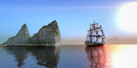 Pirate ship ailing on calm sea in a beautiful morning
