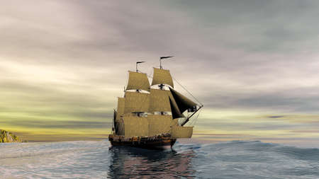 Scene of old pirate ship at calm sea on a beautiful sunset 3d rendering
