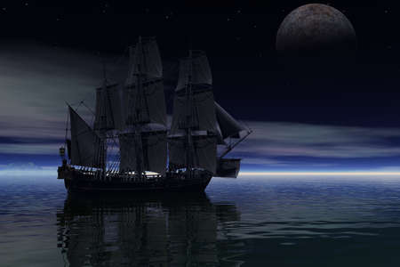 3D rendering of a sailing ship under the light of the moon