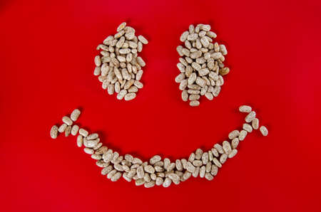 pinto beans: Happy face with pinto beans - smile