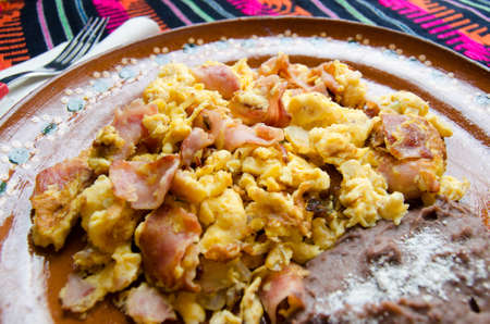 Mexican Breakfast scrambled eggs with ham and beans