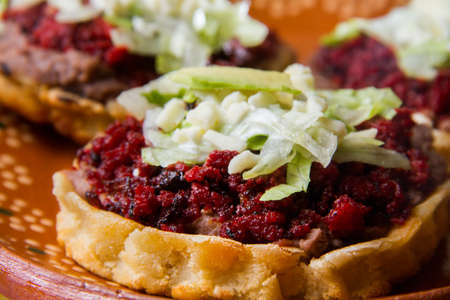 Authentic mexican chorizo sopes Stock Photo
